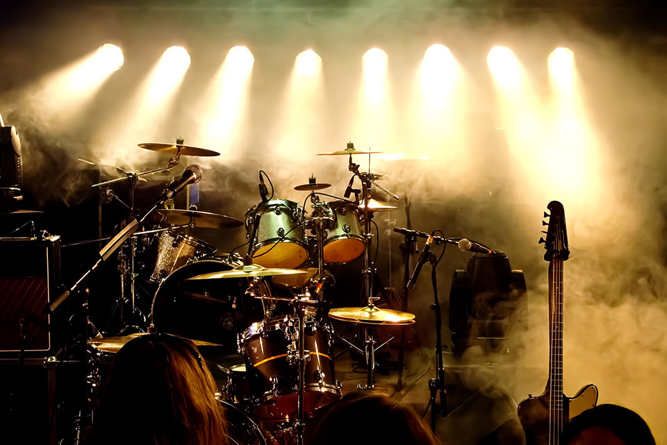 Music Instruments, Drums/Guitar on stage