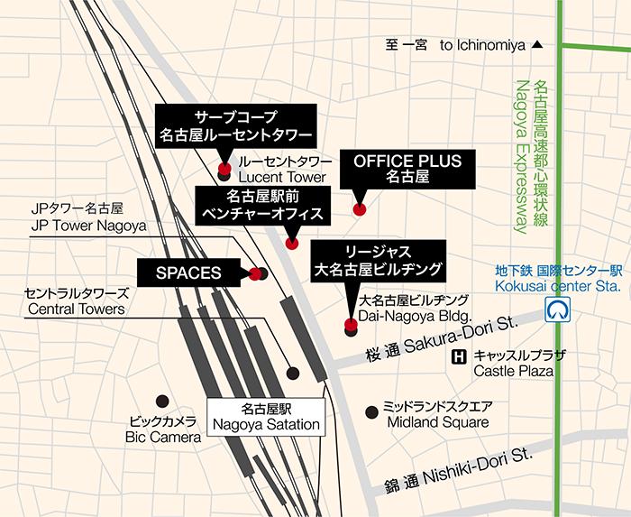 名古屋レンタルオフィスMap名古屋駅前エリア